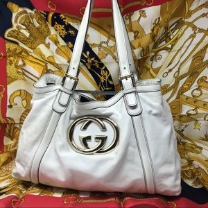 Gucci Large White Tote GHW Interlocking GG